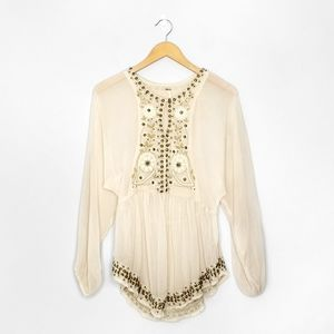 FREE PEOPLE Cream Beaded Embroidered Blouse